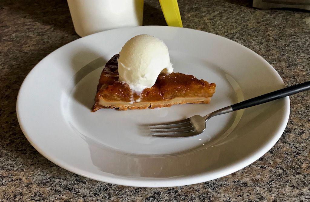 Apple tart tatin with smoked milk ice cream
